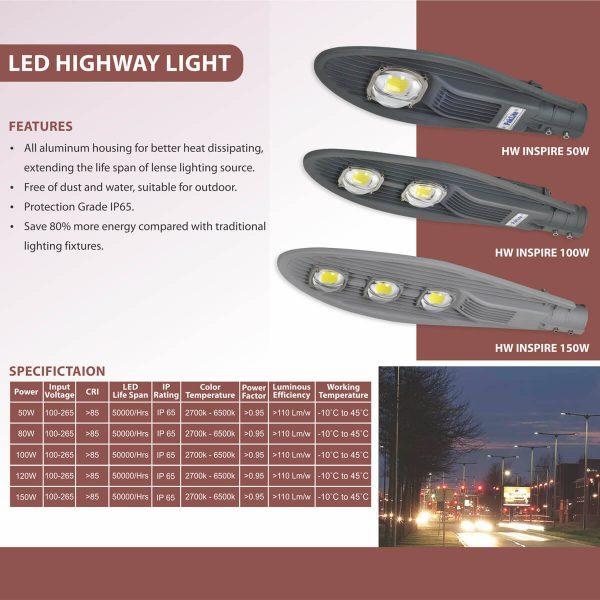 LED HIGHWAY LIGHT INSPIRE SPECS
